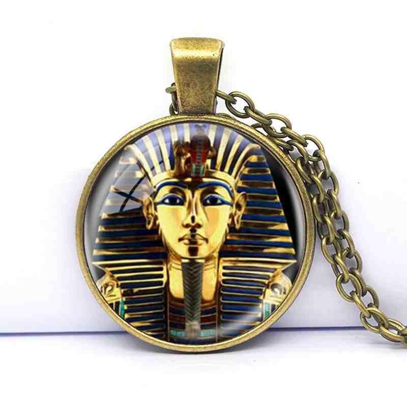 2018 nuevo colgante con logotipo, collar egipcio Tutankamón rey hecho a mano de resina, arte retro, joyería de regalo para mujeres