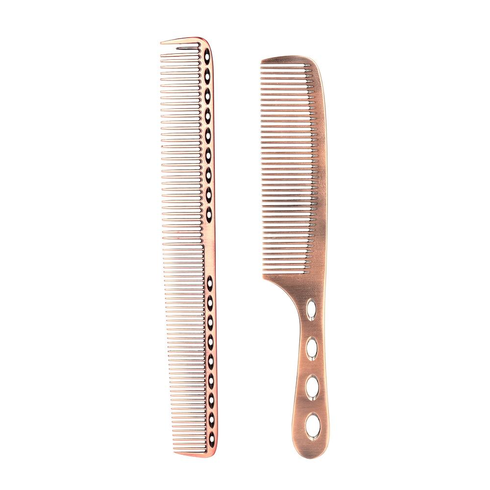 Peine de acero inoxidable 2 uds con escala para seccionamiento de cabello, cepillos de dientes finos, peine de corte de peluquería y barbería, accesorios para el cabello