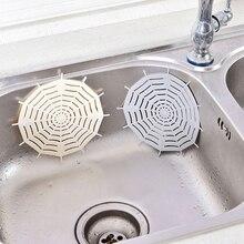 Kitchen Silicone Spider Web Sink Filter Bathroom Sucker Floor Colanders Strainer Drains Shower Hair Sewer Filter Cleaning Tool