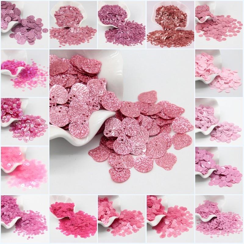 Lentejuelas de color rosa oscuro, brillantes, Copa redonda plana de PVC, Lentejuelas sueltas, costura, artesanía de boda, accesorio para ropa DIY, gafas de 20g