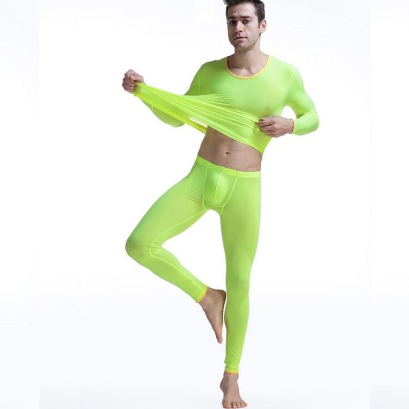 Kwan. z dos homens térmica underwear terno elástico ultra-fino long johns thermo underwear translúcido pijamas de seda dos homens top leggings