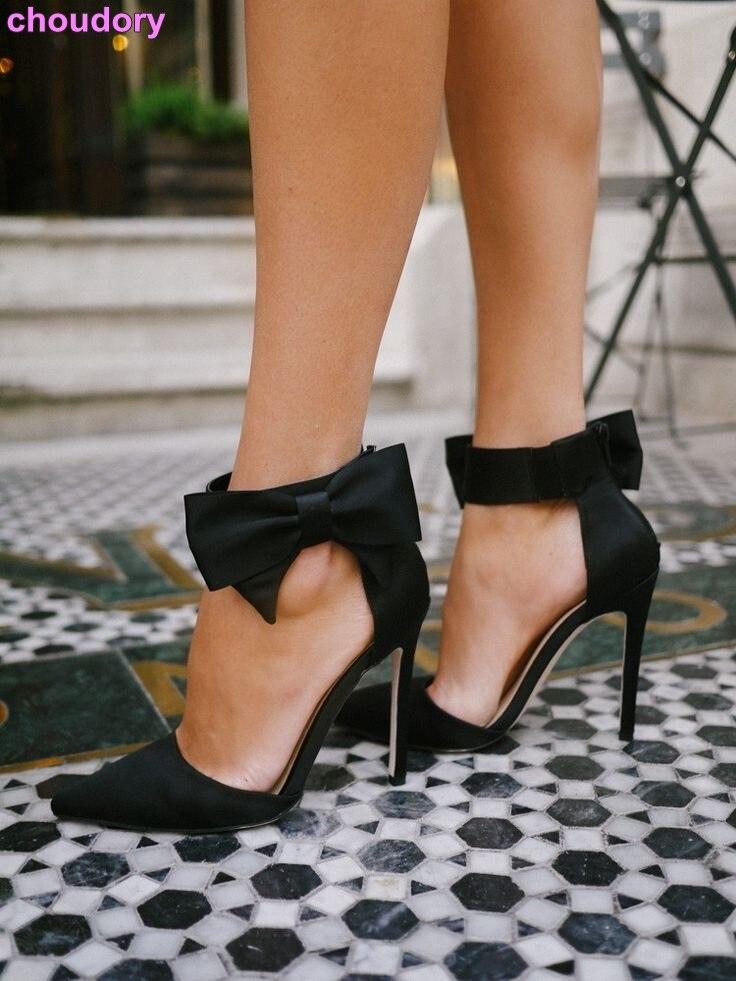 Zapatos de tacón alto elegantes para niña, zapatos de punta estrecha de tela de seda satinada negra Beige, zapatos de pajarita grande, zapatos de boda con nudo de mariposa