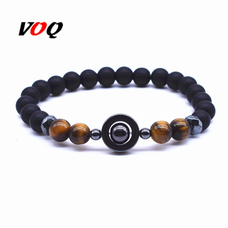 New Design Round Spacer beads Hematite Tiger Eye Stone Energy Bracelet men health Natural Stone Elastic rope Strand Bracelets