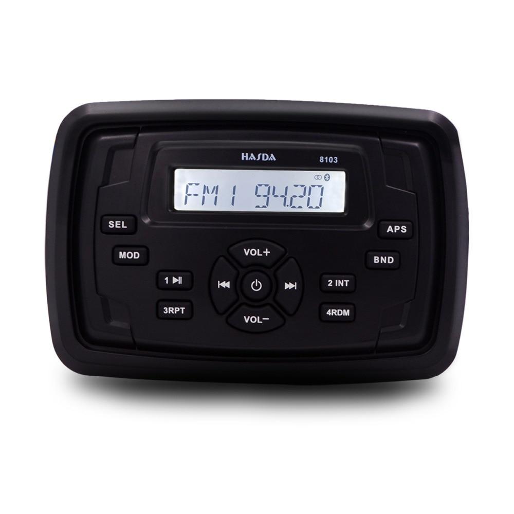 HASDA Waterproof Marine Radio audio Boat Audio Motorcycle Receiver RV Car Bluetooth Sound System FM AM  USB Square MP3 Player