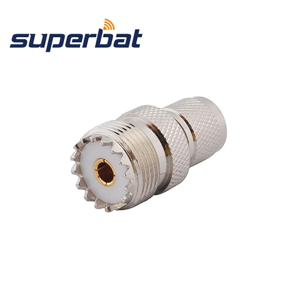 Superbat 5pcs Mini-UHF to UHF Adapter Mini-UHF Male Plug to UHF Female Jack Straight RF Coaxial Connector