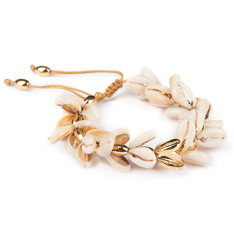 Fashion Boho Bracelet Gold Plating Nature PUKA Shell Bracelet Moda Hombre Holiday Gifts for Women Tibetan Jewelry SZ008
