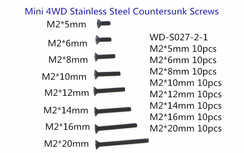 Tornillos avellanados de acero inoxidable RFDTYGR RC Mini 4wd M2 para Tamiya Mini 4wd WD-S027-2-1 80 unids/lote