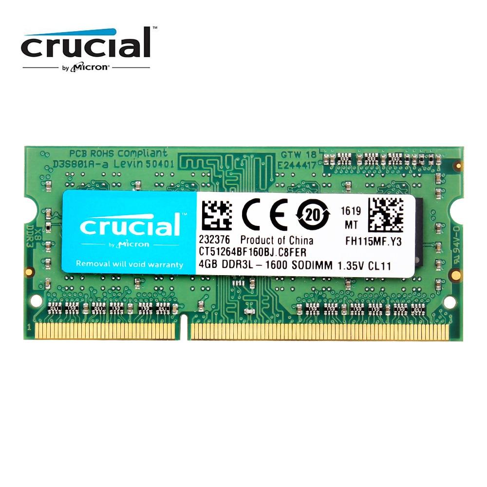 Crucial RAM SO DIMM DDR3 DDR3L 8 GB 4GB 1333MHZ 1066MHz 1600...