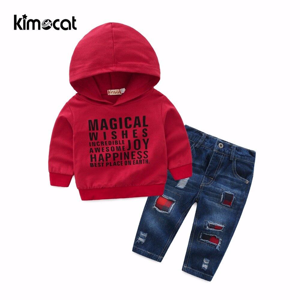 Kimocat ربيع الخريف بيبي بوي ملابس طويلة الأكمام خطابات طباعة البلوز ملابس رياضية مقنعين الجينز الفتيان الملابس مجموعة 2 قطعة