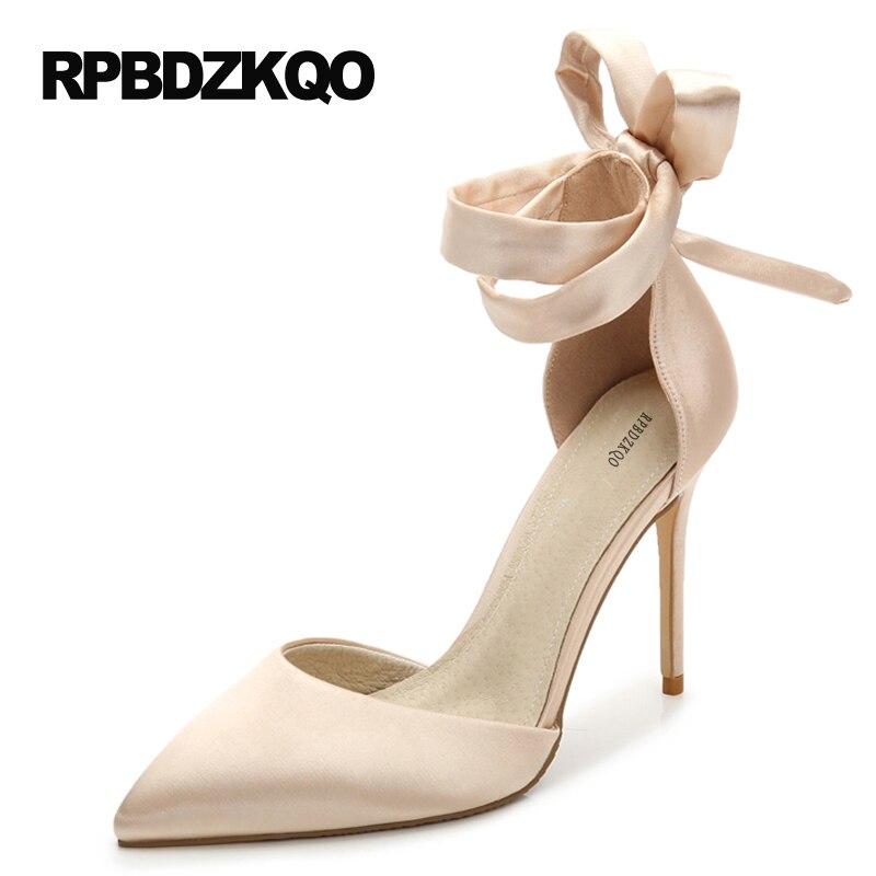 Scarpin высокие каблуки обувь насосы выпускной вечер Ремень для лодыжки лента Плюс размер 11cm 4 дюймовый зашнуровать 9 41 леди Указательный палец