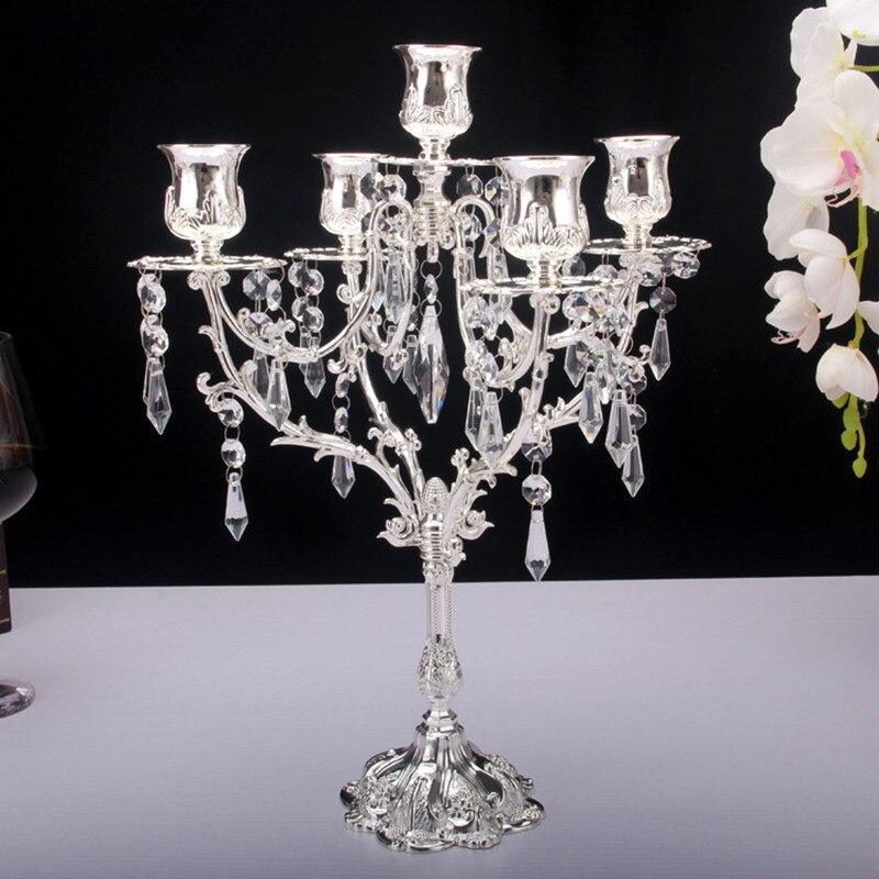 Candelabro de Metal Retro dorado, candelabro europeo de aleación de Zinc, 5 candelabros dorados y plateados, portavelas decorativo para ceremonia de boda