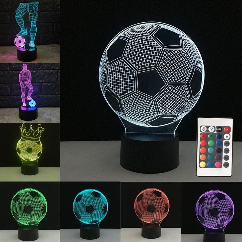 Piłka nożna 3D lampa stołowa piłka nożna Led lampki nocne kolorowe lampki nocne sypialnia dekoracje domu biurko Luminaria fanów sportu dla dzieci prezent dla dzieci