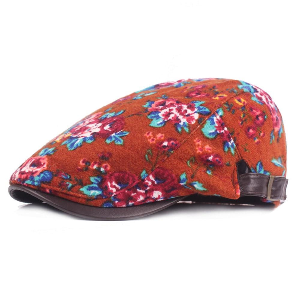 Women Ladies Floral Flower Berets Hat Cap Fashion Adjustable Driving Casual Hat HATCS0259