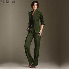 Veste pantalon vert foncé femmes daffaires costumes chinois col formel dames pantalon costumes bureau uniforme Style femme pantalon costume
