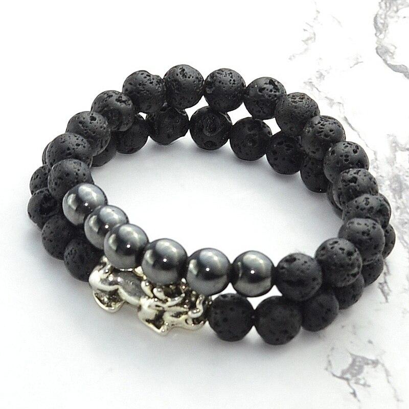 2 uds. De accesorios de joyería de moda de acero inoxidable negro Pixiu Lava pulsera magnética Set para Mujeres Hombres brazaletes pulsera regalo 8mm
