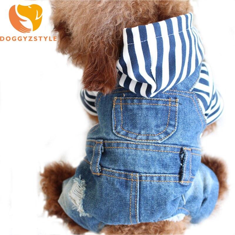 Джинсовый комбинезон в полоску с изображением собаки, щенка, кота, толстовка, джинсовое пальто, одежда для маленьких собак, плюшевый Йоркширский свитер, DOGGYZSTYLE