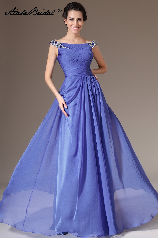 Formal Women's Dress Elegant Cap Sleeve Boat Neck A Line Chiffon Mother of the Bride Dress vestido n