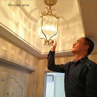 American retro gold LED crystal chandelier living room corridor balcony restaurant Nordic pastoral iron crystal lamp