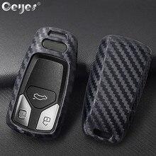 Ceyes-coque de Protection pour Audi A4   Nouveau style de voiture, Fiber de carbone, pour Audi A4 A4L A5 A6L QT S5 S7 Q7 TTS, accessoires pour clés de Protection