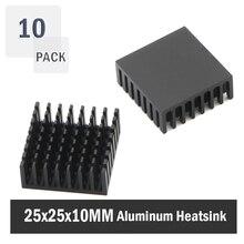10Pcs Gdstime 25x25x10mm 25mm 10mm Schwarz Aluminium Kühler Kühler Kühlkörper Kühlkörper für Stepper Stick MOSFET VRM Vram IC Chips