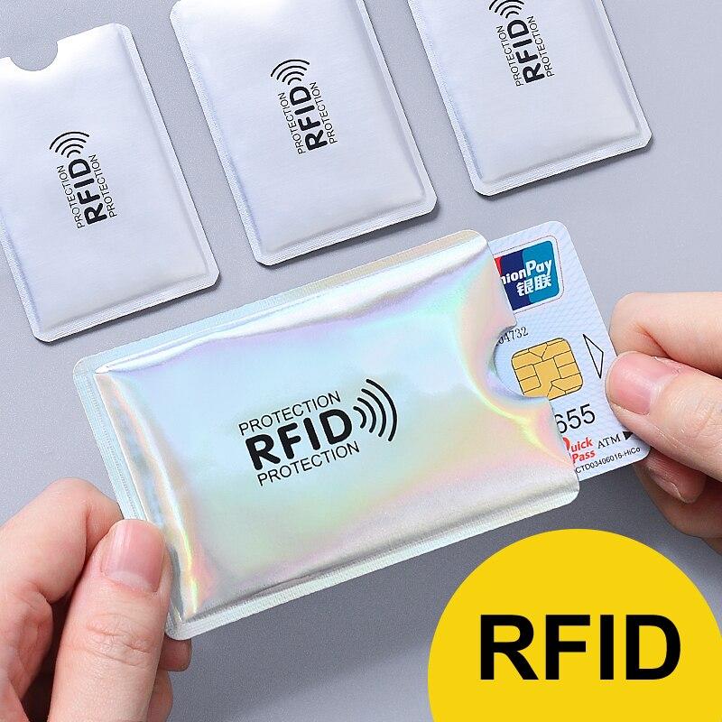 Multicolor Laser Anti Rfid Brieftasche Blockieren Reader Sperren Bank Karte Halter ID Bank Karte Fall Männer Schutz Metall Kredit Aluminium
