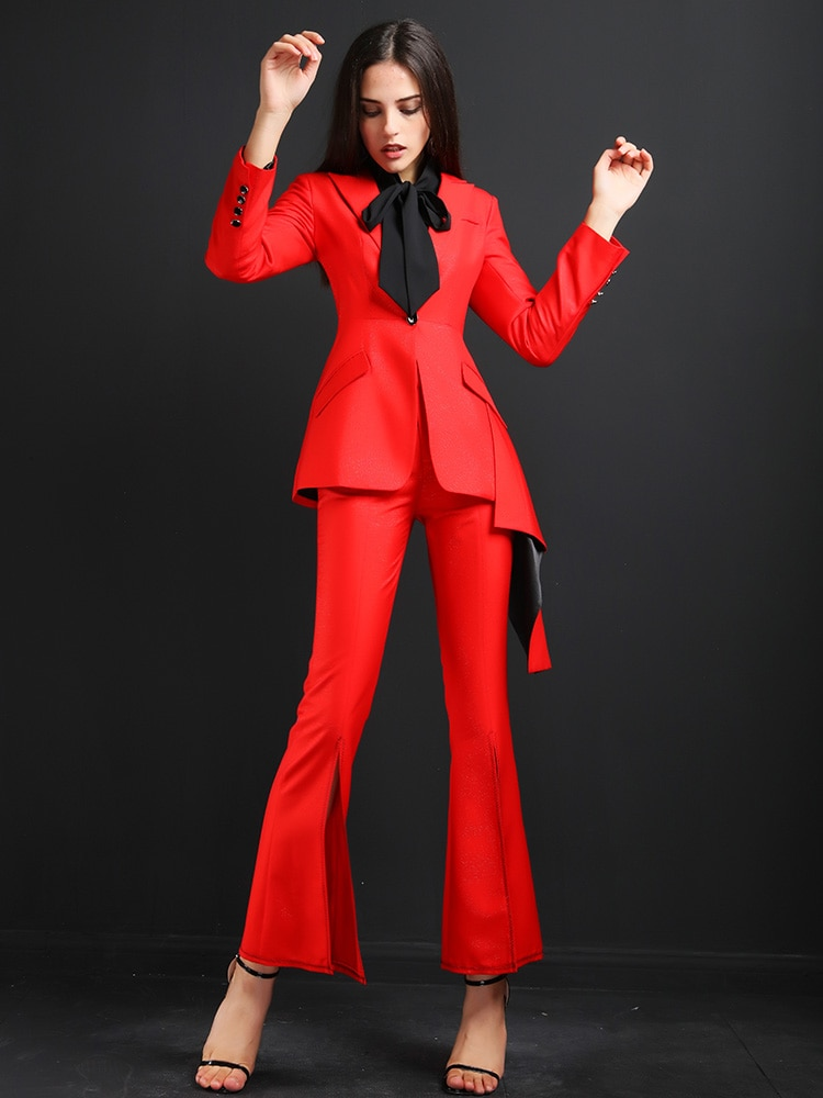 High quality women suits pants suit Ladies Office Sets Casual Blazer And Pants Formal Two Piece Feminino