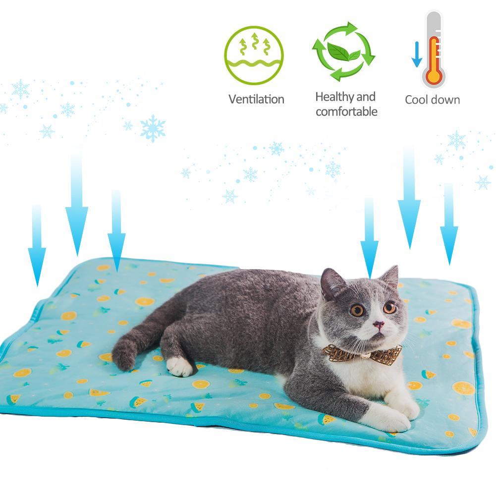 Cat Dog Cooling Mat Pet Ice Pad Teddy Mattress Pet Cool Mat Bed Cat Cushion Summer Keep Cool Pet Gel Cooling Dog Mat For Cat M L