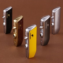 Quality Pocket Size Metal Snake Mouth Shape Refillable Butane Gas 3 Torch Jet Flame Cigarette Cigar Lighter Cohiba W Punch