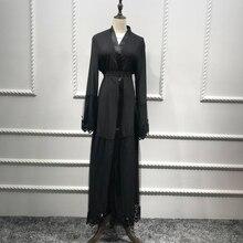 Abayas para damas de los Emiratos Árabes Unidos 2019 Abaya Kimono Dubai Kaftan Qatar Cardigan de encaje musulmán vestido hijab bata Longue ropa islámica turca