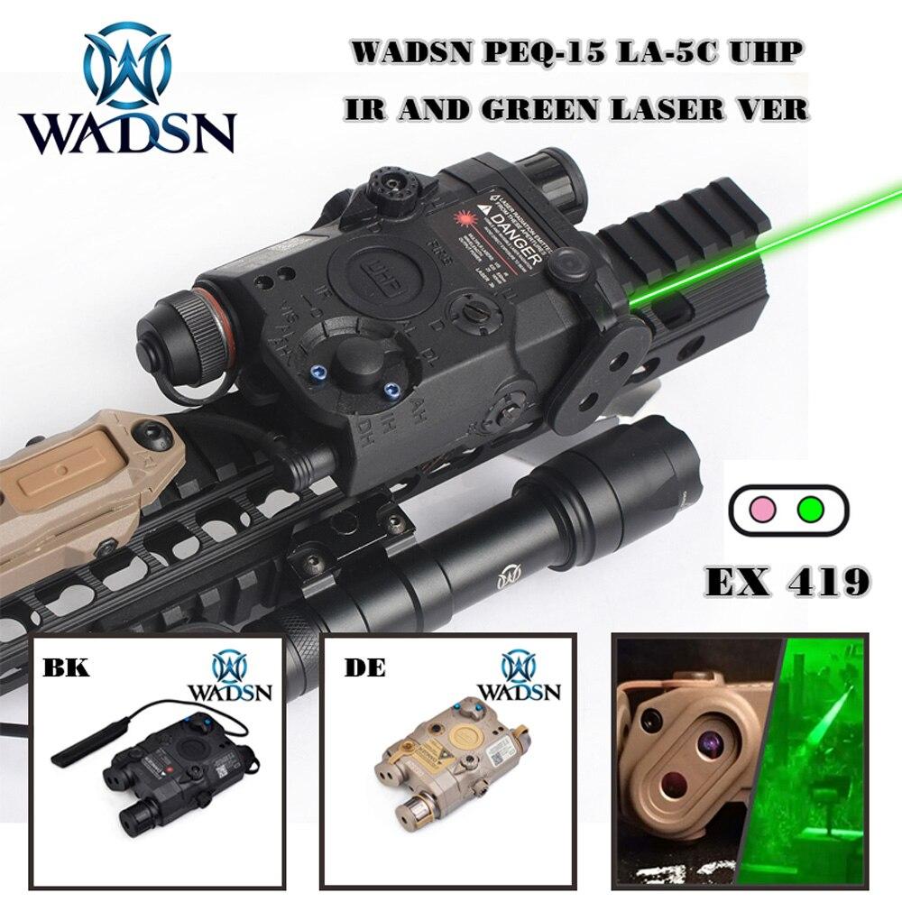 Лазерный страйкбол WADSN UHP LA-5 PEQ 15, ИК зеленый точечный Лазер с белым светодиодный фонарик, тактический фонарь LA5C PEQ Lazer, Охотничья винтовка, оружие