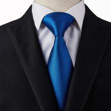 Cravate à coutures bleu Royal   Nouveaux ensembles de boutons de manchette Hankie, cravates larges pour hommes, rayures rouges pour costume de fête de mariage