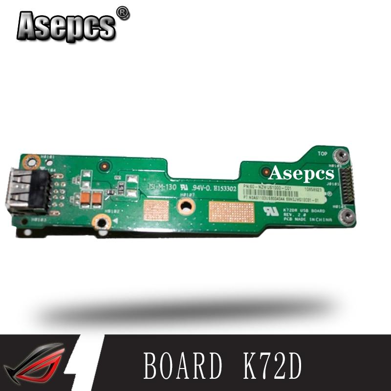 Asepcs PARA K72 K72DR K72DY K72D K72JR K72JT K72JU Tomada USB Placa 60-NZWUS1000-C01 FUNCIONA