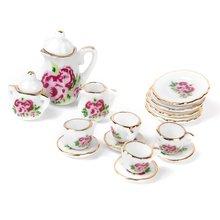 MYMF meilleure vente 15 pièces porcelaine service à thé maison de poupée miniature aliments chinois rose plats tasse