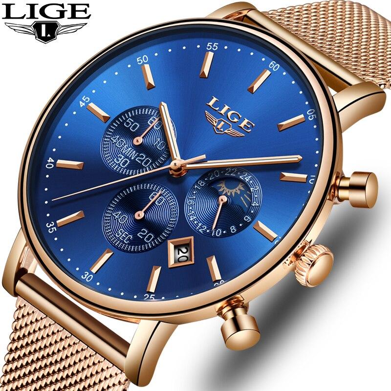 LIGE  NEW Fashion Men Watches Top Brand Luxury Rose gold Quartz Watch Men Casual Waterproof Sport Watch Relogio Masculino