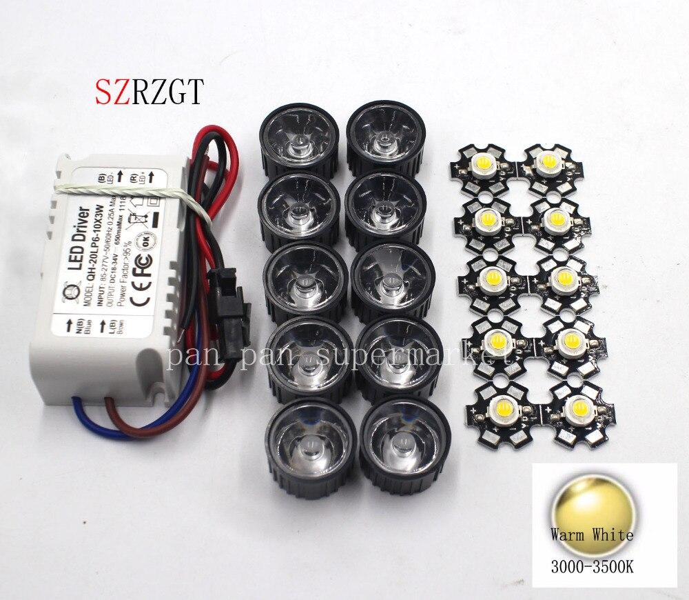 10x3 W blanco frío 6000k 3500k 4000k 10000k 20000k 30000k con Bridgelux LED de alta potencia + 10 Uds lente + 1 Uds 6-10x3 W controlador