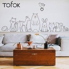 Tofok dessin animé Animal autocollant mural timide ours renard bébé enfants chambre créative pépinière décalcomanies adhésif décor à la maison papier peint approvisionnement