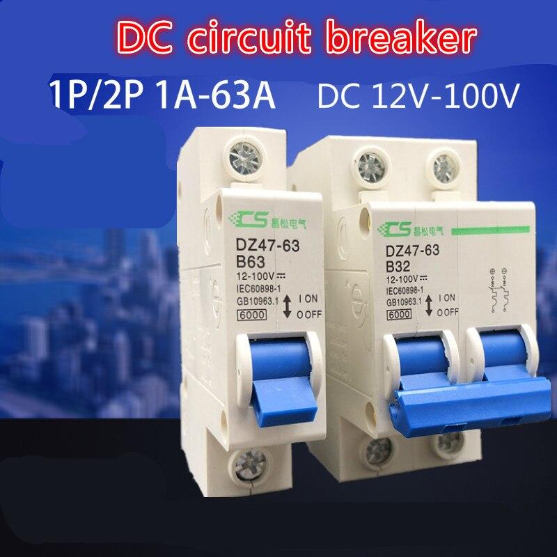 DC Circuit Breaker 24v 60v 72v 96v 2p Direct Air Open 12v 100V Atmosphere Switch Defence Tripping Operation