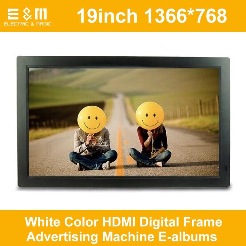 19 дюймов 1366*768 белый цвет HDMI цифровая рамка рекламная машина E-альбомы экран 169