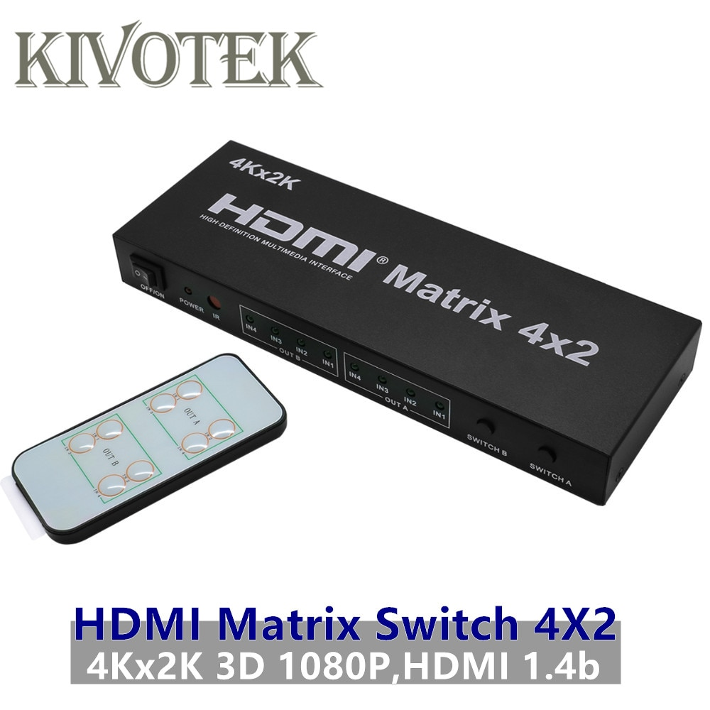 4x2 Matriz HDMI interruptor conmutador adaptador FullHD 4K x 2K 3D 1080P conector hembra de Control RC para HDTV PSP PS23 STB DVDFree envío