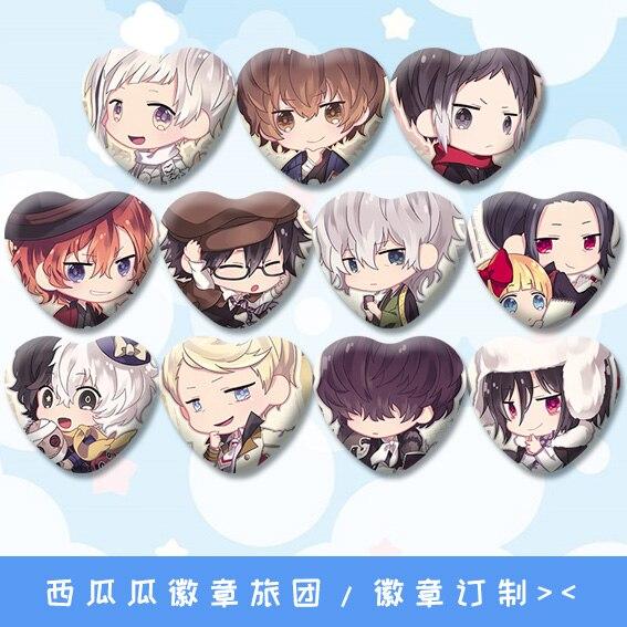 1 Pza 58MM Anime Bungo perros callejeros Nakajima Osamu dazai Nakaharau hierro lindos pines corazón insignias broche iconos mochila