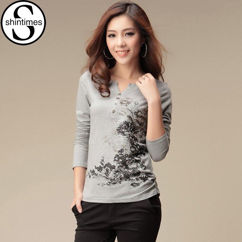 Shintimes graphique t-shirts femmes T-Shirt à manches longues T-Shirt femmes hauts mode 2020 coton T-Shirt Camisetas Mujer T-Shirt Femme
