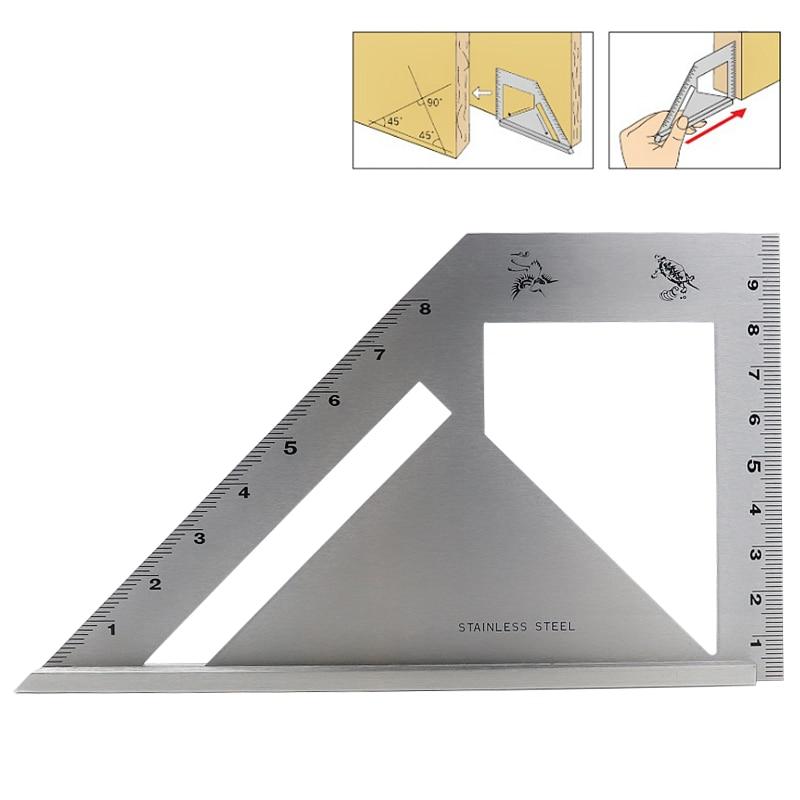 مسطرة زاوية 45 درجة و 90 درجة من الفولاذ المقاوم للصدأ ، أداة قياس للنجار ، أداة نجارة