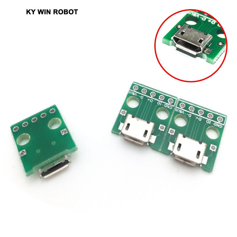 5pcs MICRO USB to DIP Adapter 5pin female connector B type pcb converter pinboard 2.54mm недорого