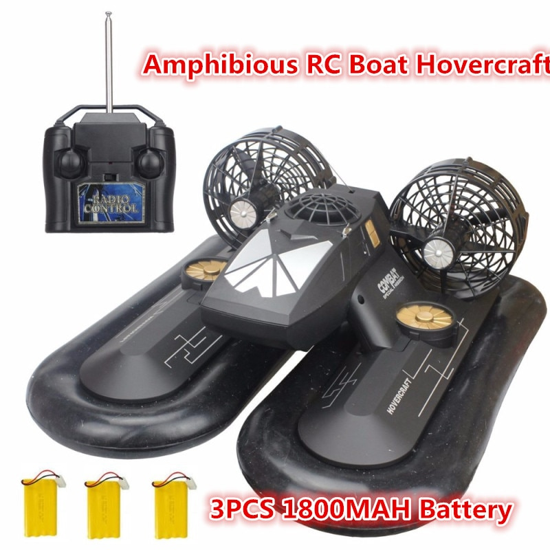 High Simulation 2.4G 6CH Remote Control Hovercraft Boat RC Boat Hovership Amphibious Transport Dock With 3pcs 1800mah battery to