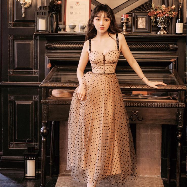 Vintage victorian strap vestido sexy polka dot malha longo vestido de festa praia casual verão das mulheres vestidos
