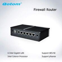 Qotom mini pc 6 intel lan core i5 i7 AES-NI firewall roteador mini computador linux ubuntu micro pc i5-7200U/i7-7500U q555g6 q575g6