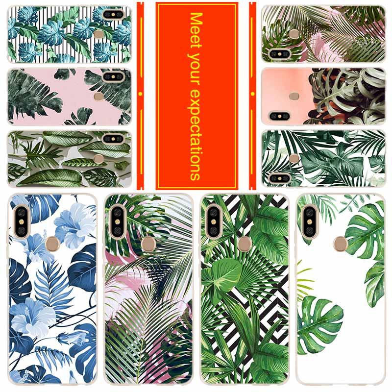 Funda de teléfono para Xiaomi Redmi 8a 7a 6a 5a 5plus 4x Nota 8 7 6 5 9 5a pro 8t cubierta de plantas tropicales
