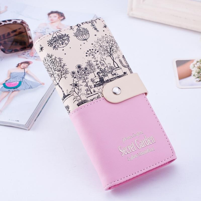 Women PU Leather Long Wallet Female Card Holder Purse Lady Money Bag walet Portomonee