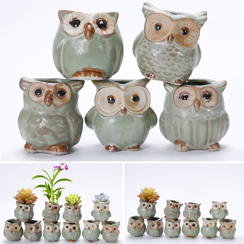 5pcs Cartoon Owl-shaped Flower Pot for Succulents Fleshy Plants Ceramic Pot Small Home Decoration MJJ88