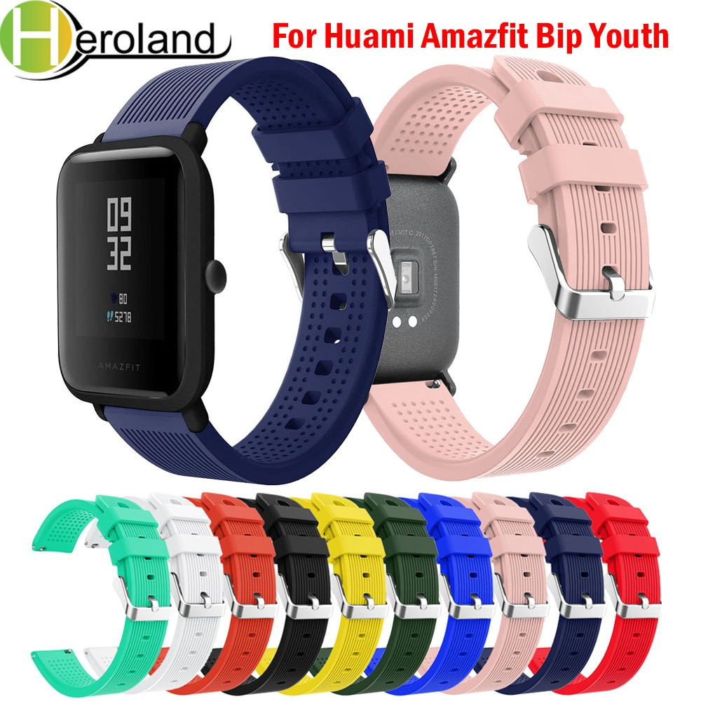 20mm Watch Strap For Huami Amazfit Bip Youth Watchband Replace for Huami Amazfit Bip BIT Lite Youth wrist Bracelet Soft Silicone genuine leather loop magnetic band strap for huami amazfit bip bit pace lite youth smart watch closure buckle wristband bracelet